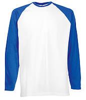 Футболка с длинным рукавом Fruit of the Loom Long sleeve baseball S AW Белый / Ярко Синий (0610280AWS) , фото 1