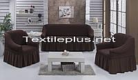 Чохол на диван і крісла темно коричневий Туреччина
