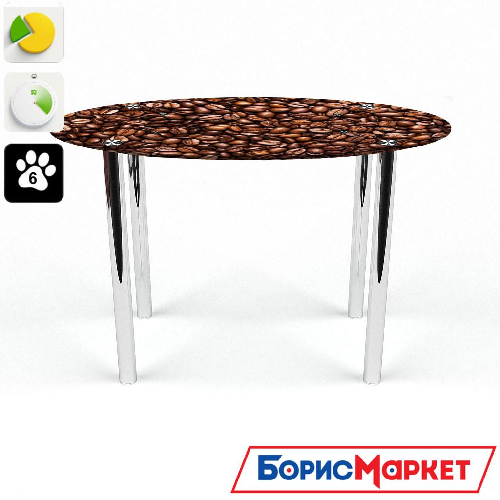 Обеденный стол стеклянный (фотопечать) Овальный Morning aroma от БЦ-Стол