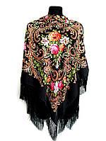 Народный платок Людмила, 135х135 см, черный