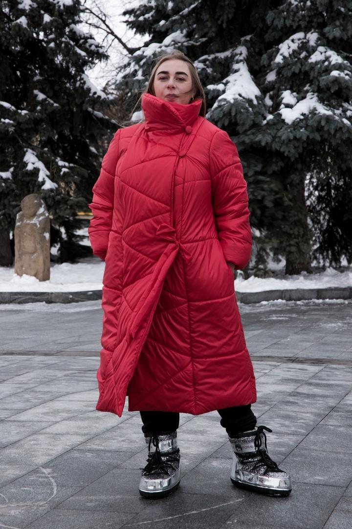 Длинное зимнее пальто больших размеров Зигзаг
