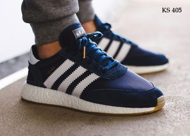 Мужские кроссовки Adidas Iniki Runner (синие) KS 405