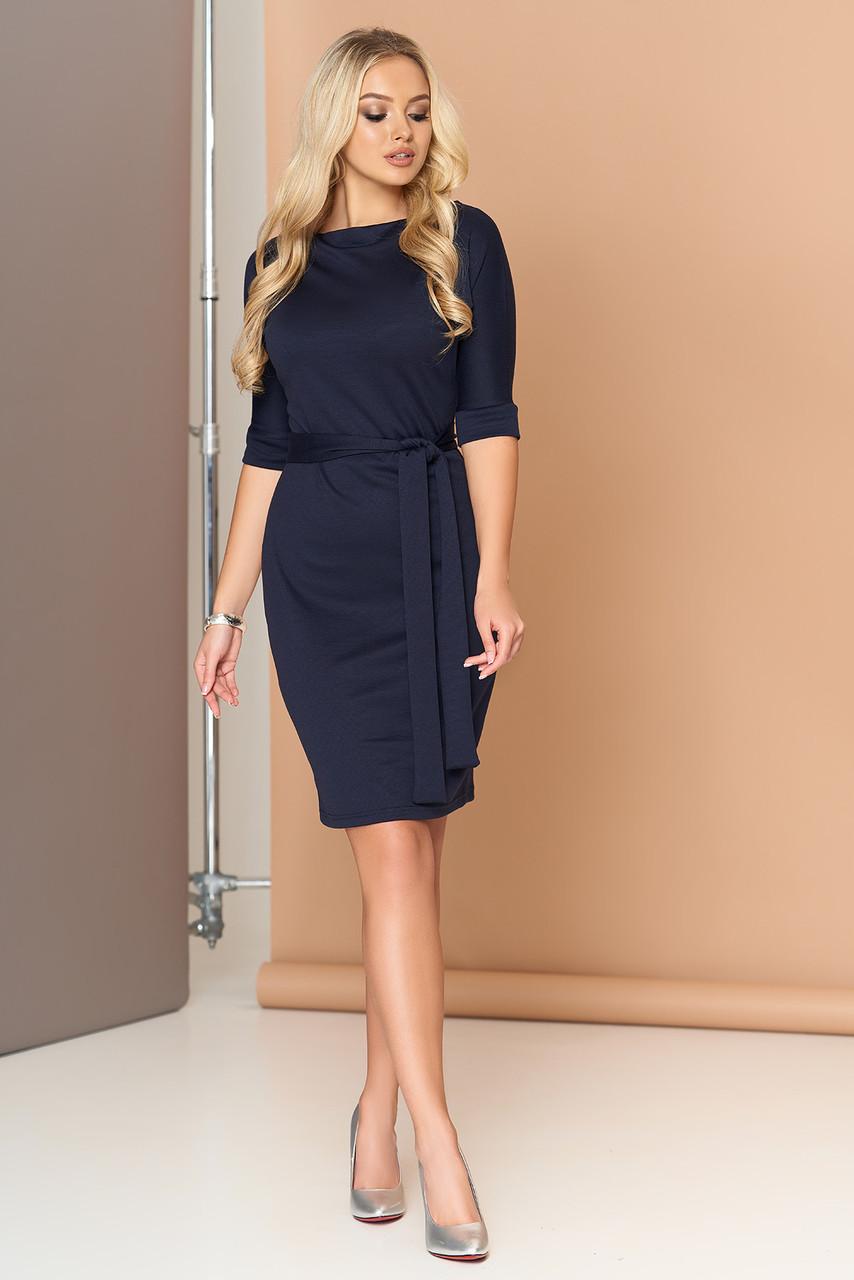 Платье офисное с поясом трикотажное синее