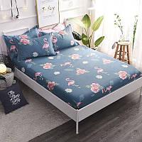 Хлопковая синяя простынь на резинке Фламинго и цветы 150x200+25 см , фото 1