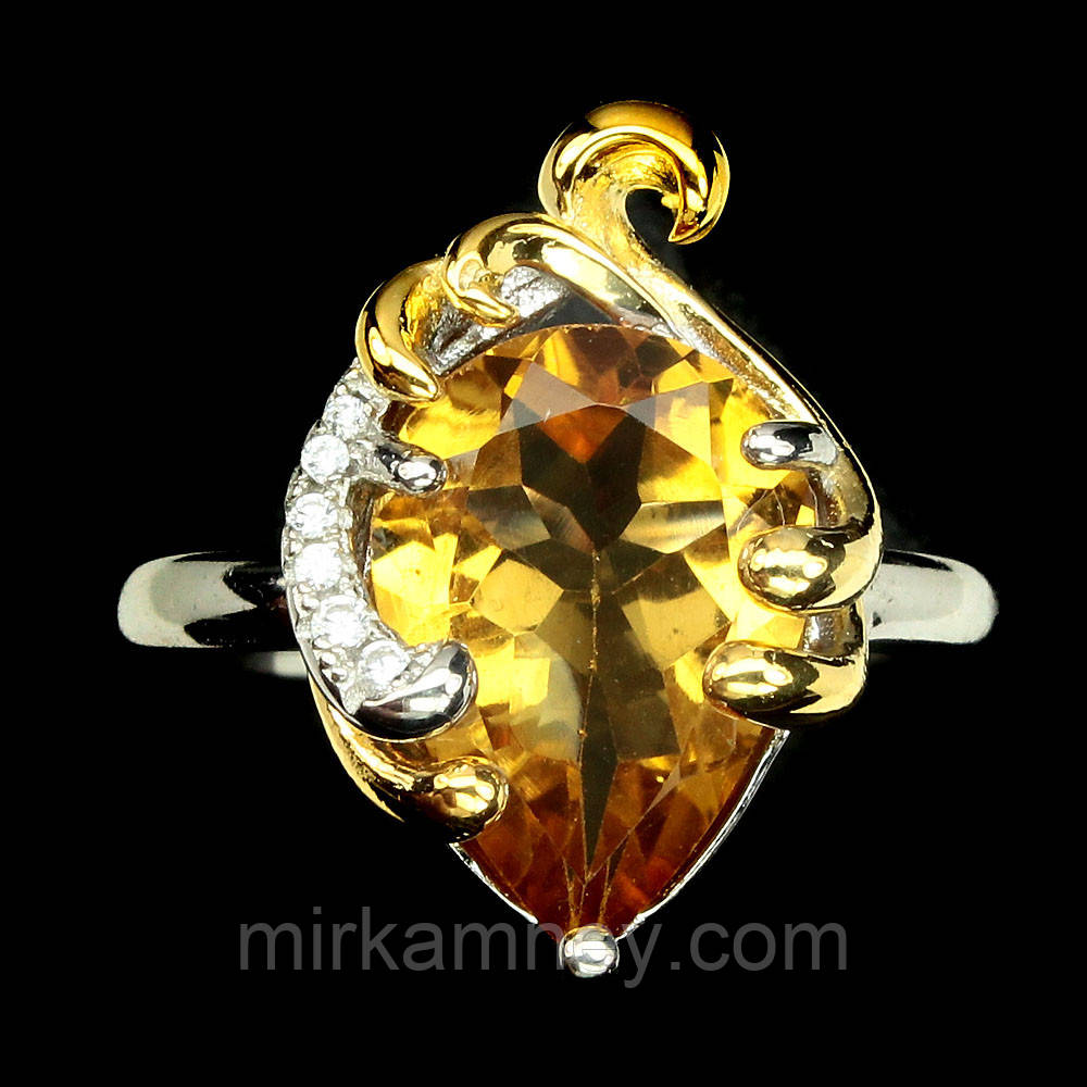 Кольцо натуральный циртрин. Размер 17,5. Серебро, покрытие золотом 14 карат