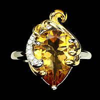 Кольцо натуральный циртрин. Размер 17,5. Серебро, покрытие золотом 14 карат, фото 1