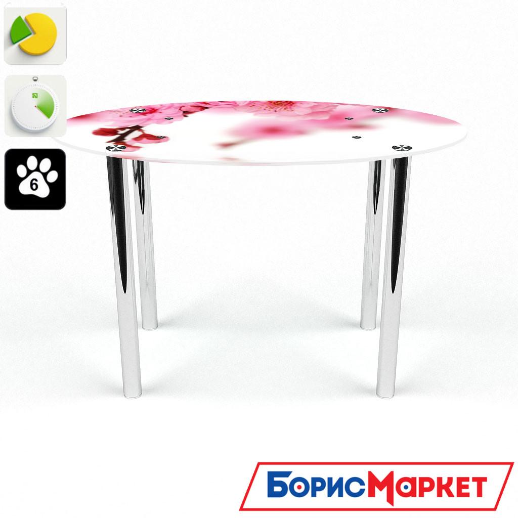 Обеденный стол стеклянный (фотопечать) Овальный Sakura от БЦ-Стол