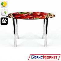 Обеденный стол стеклянный (фотопечать) Овальный Strawberry от БЦ-Стол