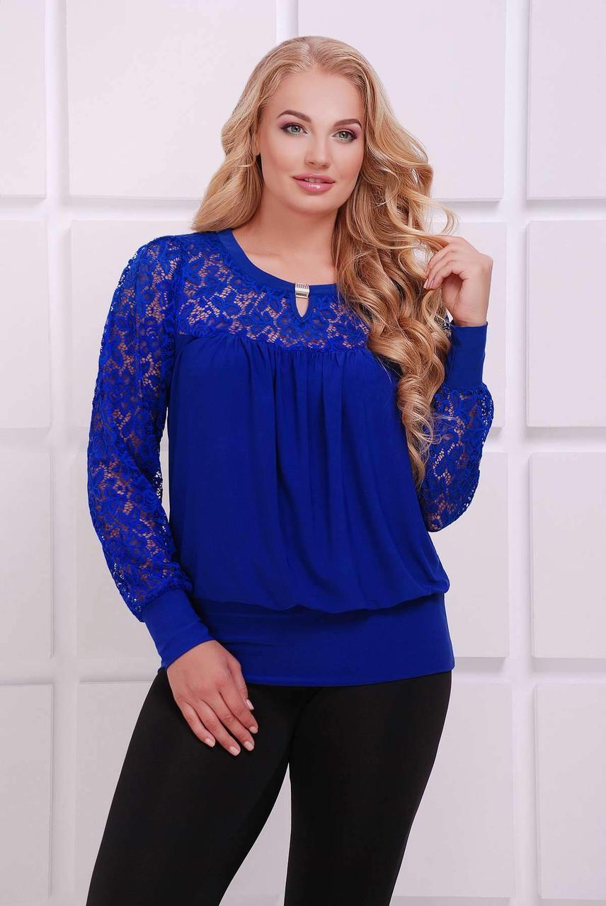 Шикарная блуза декорированная гипюром  Размеры 56 58 60 62