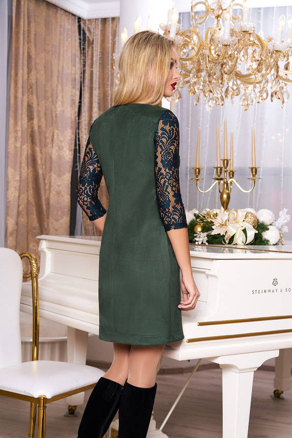 Красивое замшевое платье с гипюром зеленое, фото 2