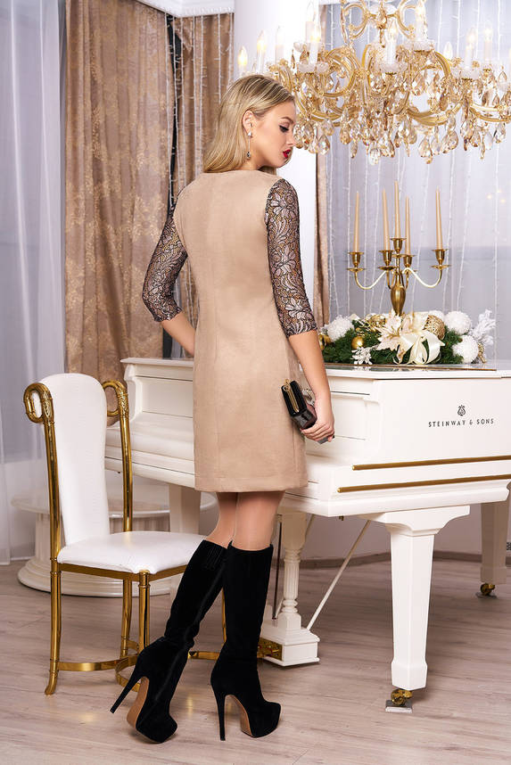 Красивое женское платье с гипюром бежевое, фото 2