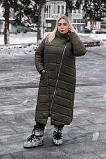 Длинное пальто больших размеров зима Инна хаки, фото 2