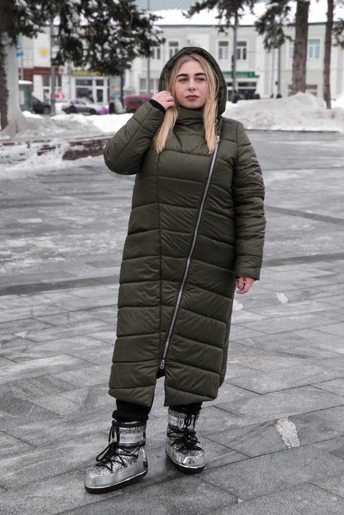 Длинное пальто больших размеров зима Инна хаки