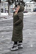 Длинное пальто больших размеров зима Инна хаки, фото 3