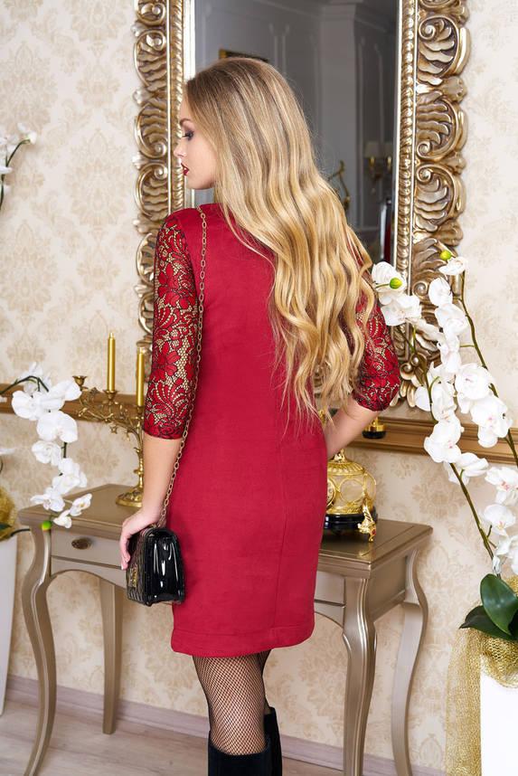 Нарядное женское замшевое платье с гипюром красное, фото 2