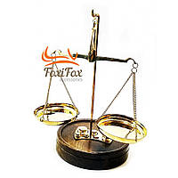 Весы бронзовые на деревянной подставке 50 гр