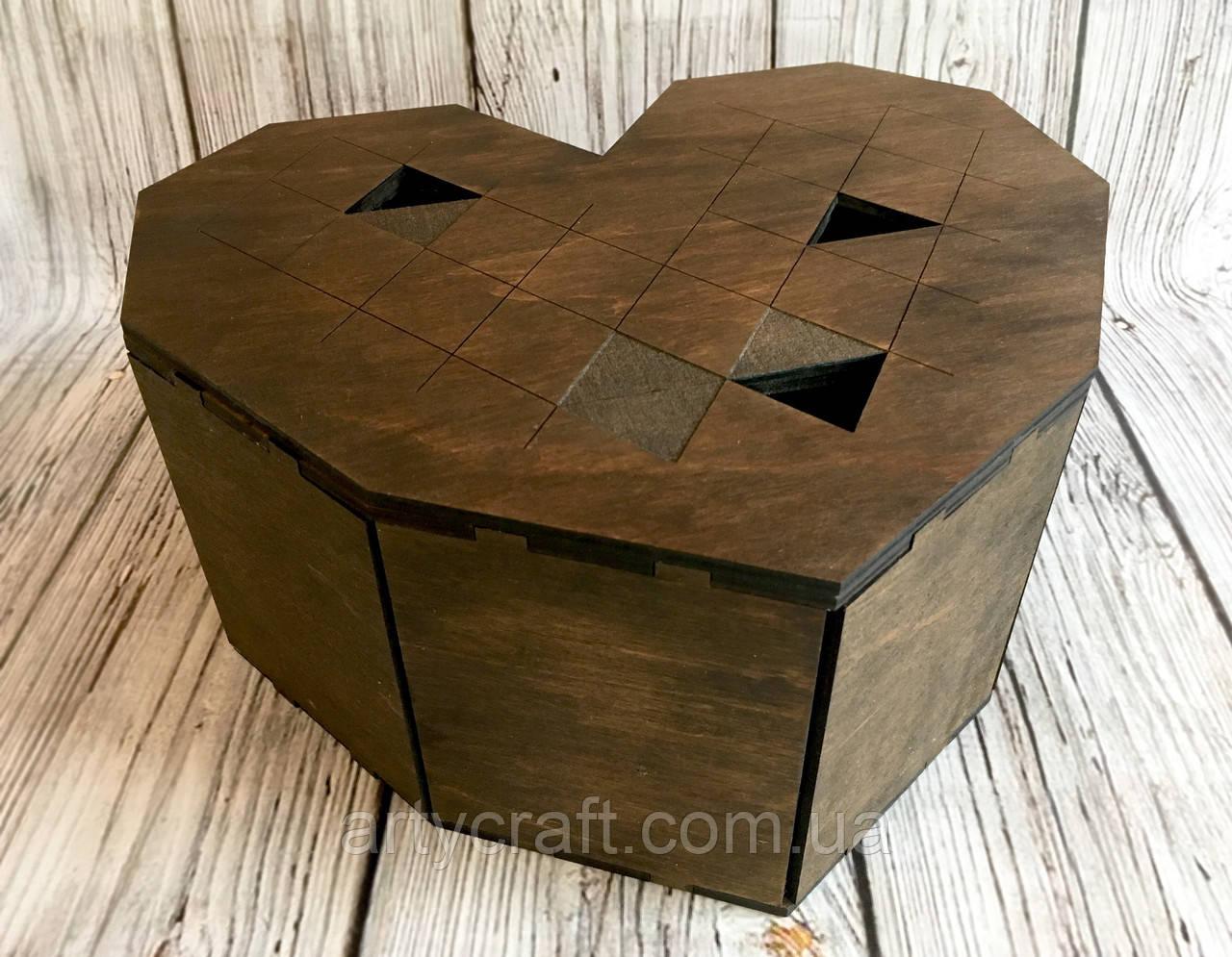 """Подарочная деревянная коробка """"Большое сердце"""""""