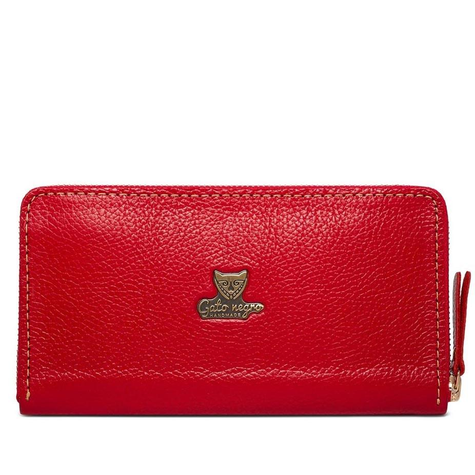 41516a2e7d2d Женский кожаный кошелек-клатч ручной работы Gato Negro Discovery Buffalo Red