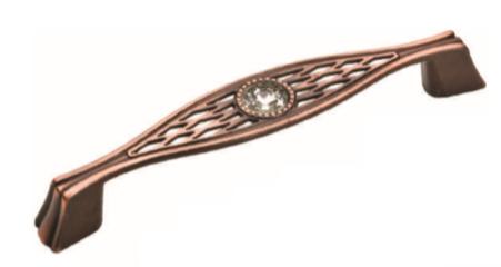 Ручка мебельная Ozkardesler 5438-09 GAZEL 96мм Медь с камнями