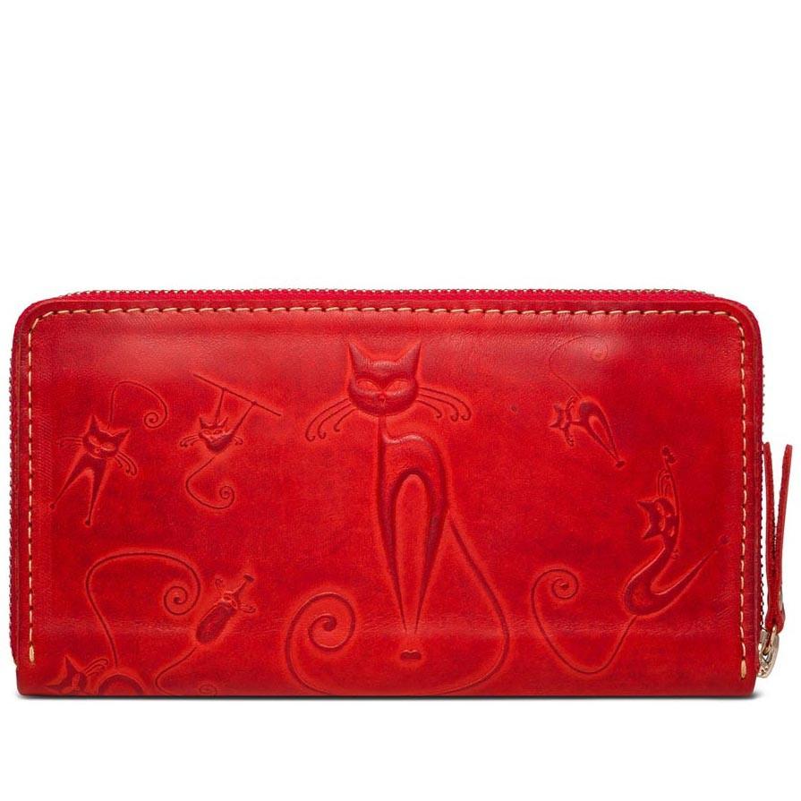 9e88d1c2775d Женский кожаный кошелек-клатч ручной работы Gato Negro Discovery Catswill  Red - Arion-store