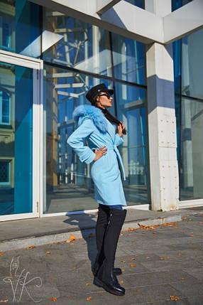 Кашемірове пальто жіноче демісезонне блакитного кольору з натуральним хутром песця 42-46 р, фото 2