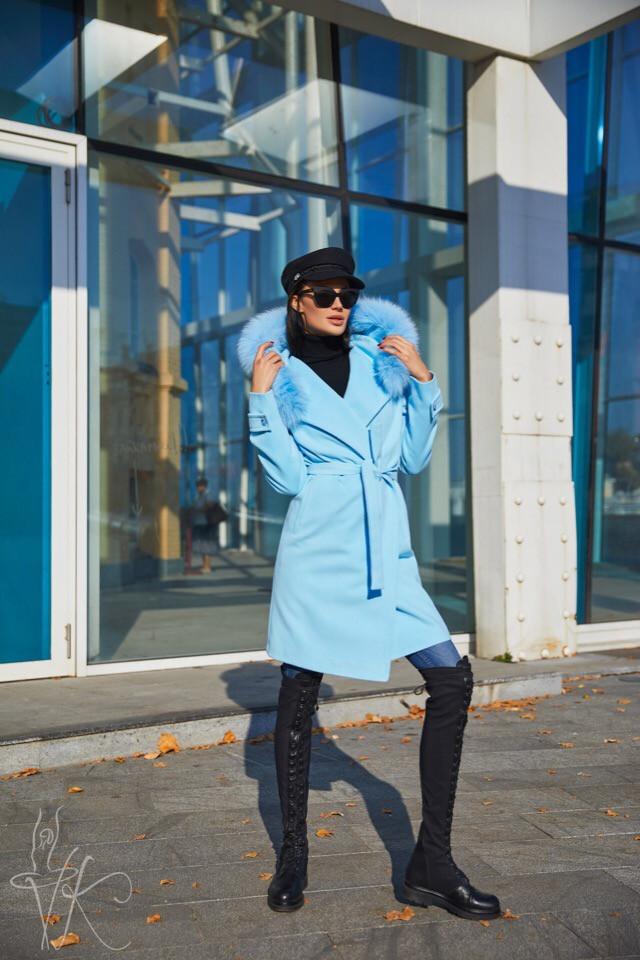 Женское демисезонное кашемировое пальто голубого цвета с натуральным мехом песца 42-46 р