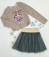 Комплект нарядный юбка+кофта, Ричи, размер 140-146, серый+пудра