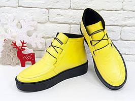 Яркие и стильные женские ботинки-кеды со шнуровкой, натуральная ярко желтая кожа 36,37,38,39,40,41