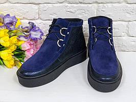 Яркие и стильные женские ботинки-кеды со шнуровкой, натуральная синяя кожа+замша 36,37,38,39,40,41