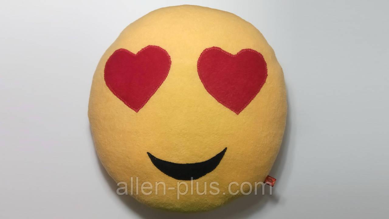Мягкая игрушка-подушка ручной работы Смайлик (глазки-сердечки)