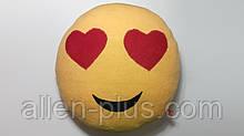 М'яка іграшка-подушка ручної роботи Смайлик (очі-сердечка)