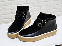 Яскраві та стильні жіночі черевики-кеди зі шнурівкою, натуральна чорна шкіра 36,37,38,39,40,41, фото 1