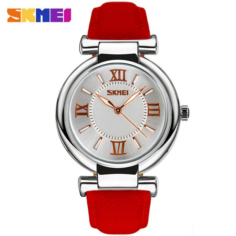 Skmei 9075 elegant красные женские классические часы