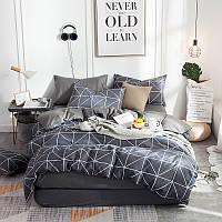 Серый хлопковый комплект постельного белья с узором (полуторный), фото 1