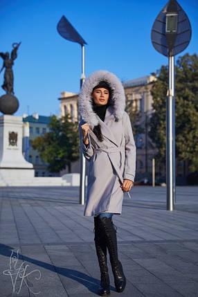 Демисезонное женское серое пальто с опушкой из натурального песца 42-46 р, фото 2