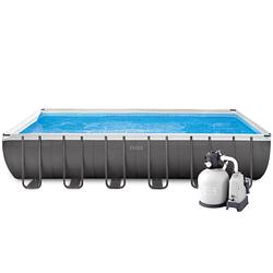 Каркасный бассейн Intex 26368, 732 х 366 х 132 см (7 г/ч-6 000 л/ч, набор, лестница, тент, подстилка, сетка)