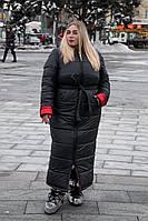 Длинное плащевое пальто в больших размерах с капюшоном 10BR1313, фото 1