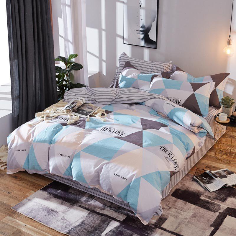 Хлопковый комплект постельного белья Разноцветные треугольники (двуспальный-евро)
