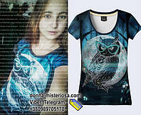 Чудова футболка з совою - мудрий птах на красивій футбоці для красивої і розумної дівчини