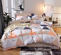 Хлопковый комплект постельного белья оранжевые треугольники (полуторный)