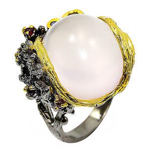 Кольцо серебряное с натуральными розовым кварцем, сапфирами размер18