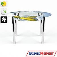 Обеденный стол стеклянный (фотопечать) Овальный с полкой Banana от БЦ-Стол