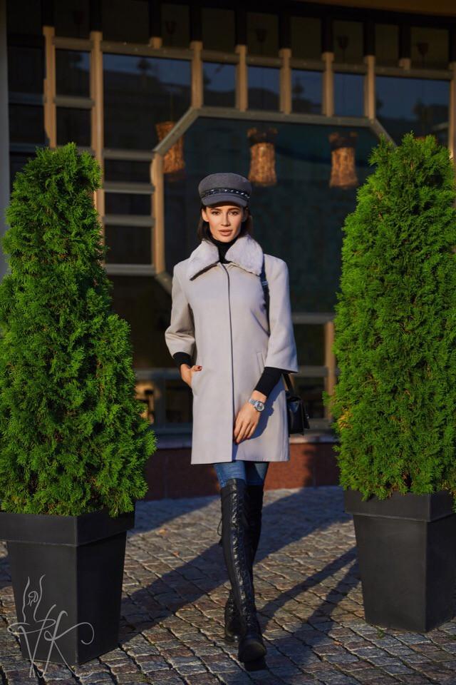 Серое весеннее пальто с рукавом 3/4 размер oversize 42-46