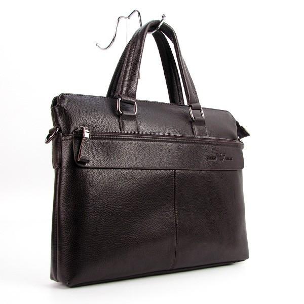 Мужская коричневая сумка 6618-3 портфель эко-кожа для бумаг документов ноутбука