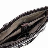 Мужская коричневая сумка 6618-3 портфель эко-кожа для бумаг документов ноутбука, фото 4