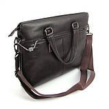 Мужская коричневая сумка 6618-3 портфель эко-кожа для бумаг документов ноутбука, фото 3