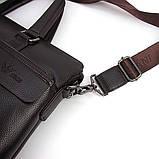 Мужская коричневая сумка 6618-3 портфель эко-кожа для бумаг документов ноутбука, фото 2