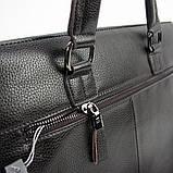 Мужская коричневая сумка 6618-3 портфель эко-кожа для бумаг документов ноутбука, фото 6