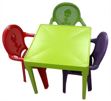 Стол пластик детский квадратный оливкового цвета, фото 2
