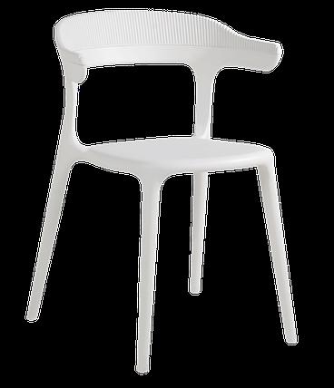 Кресло Papatya Luna-Stripe белое сиденье, верх белый, фото 2